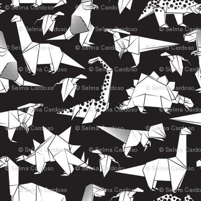 Origami dino friends // small scale // black background black & white dinosaurs