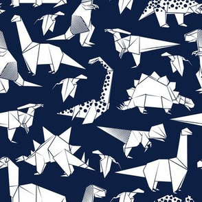 Origami dino friends // oxford blue background white paper dinosaurs