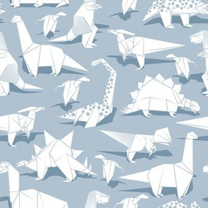 Origami dino friends // pastel blue background white paper dinosaurs