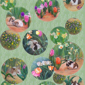 Bunnies and Flowers, Soft Pear Green