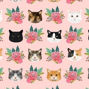 cat floral heads pet lover fabric pink