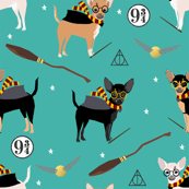chihuahua magic witch wizard dog fabric teal