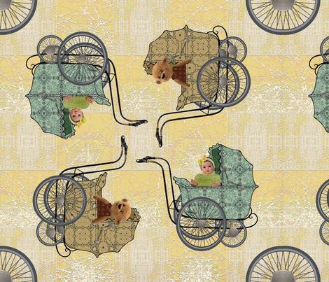 Four wheels yellow fabric by snarets on Spoonflower - custom fabric