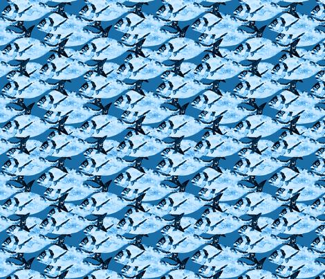 Blue  Fish on Blue fabric by lauriekentdesigns on Spoonflower - custom fabric