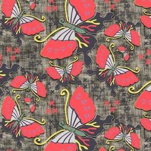 butterflies dark apricot textured