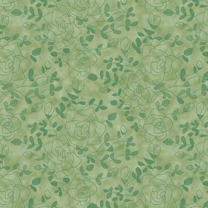 Rose Outlines and Leaves on Mottled Green
