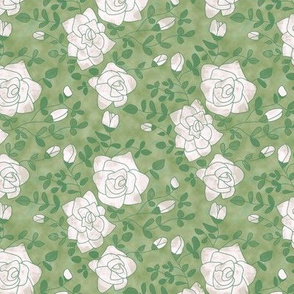 White Roses on Mottled Green