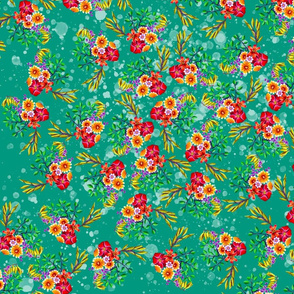 Spring flowers on teal