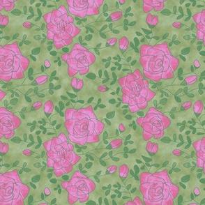 Pink Roses on Mottled Green