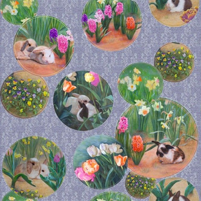 Bunnies and Flowers, Lavender Blue