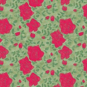Red Roses on Mottled Green