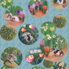 Bunnies and Flowers, Circles on Soft Blue