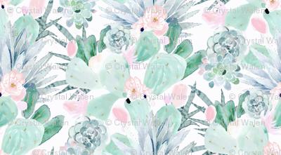 pastel cactus floral - white medium