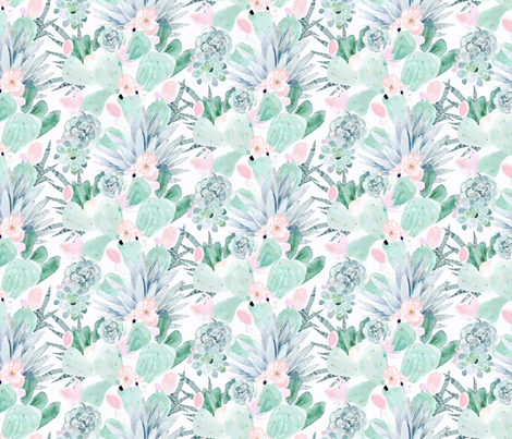 pastel cactus floral - white medium fabric by crystal_walen on Spoonflower - custom fabric