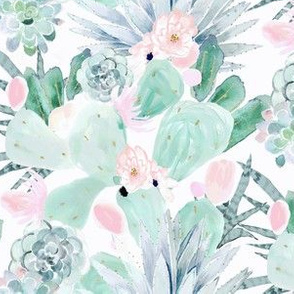 pastel cactus floral - white medium