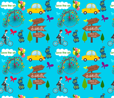 Save-the-air-ride-a-bike- fabric by choumy on Spoonflower - custom fabric