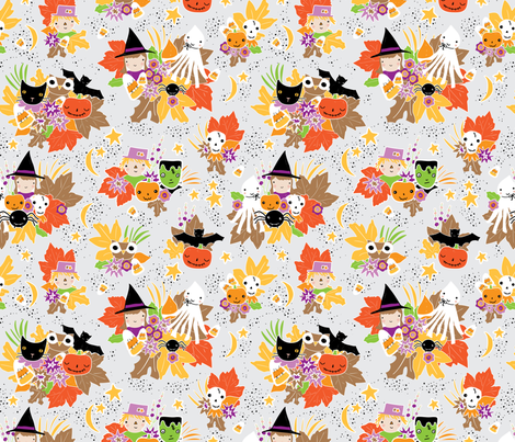 Halloween gang cluster fabric by hudsonsholidays on Spoonflower - custom fabric