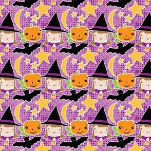 Witches, bats & pumpkins on purple