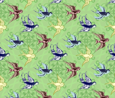 Birds of a feather fabric by elizabethmay on Spoonflower - custom fabric