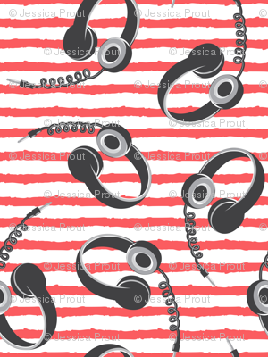 headphones on red stripes