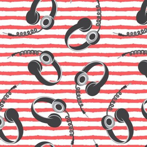 headphones on red stripes