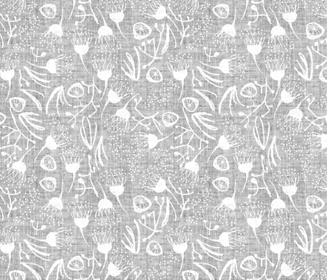 Terra Australis Gum Nuts (silver) fabric by nouveau_bohemian on Spoonflower - custom fabric
