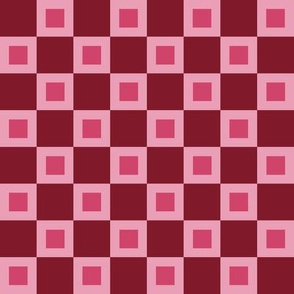 "LSC - Strawberries  and Cream Checkerboard with 1 "" squares"