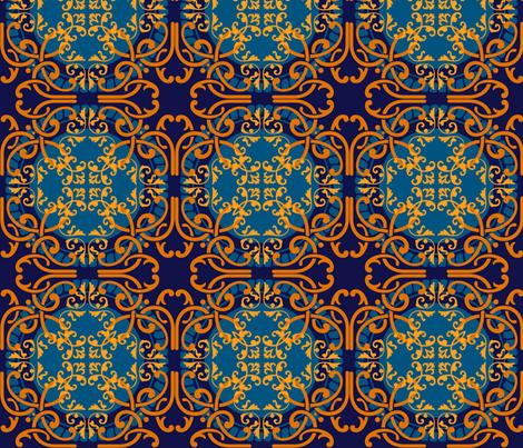 Oranges on blues fabric by elizabethmay on Spoonflower - custom fabric