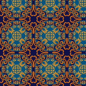 Oranges on blues