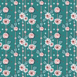GREEN, PINK, WHITE, DARK GREEN, FLOWERS