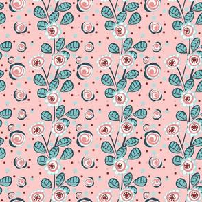 PINK, GREEN, DARK GREEN, WHITE, FLOWERS