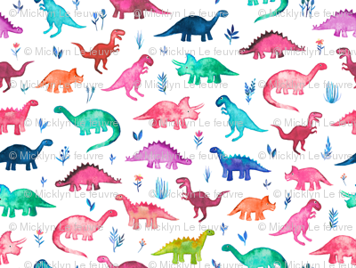 Little Multicolored Dinos on White