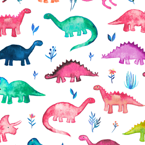 Little Multicolored Dinos on White fabric by micklyn on Spoonflower - custom fabric