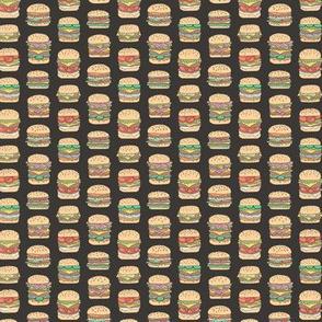 Hamburgers Junk Food Fast food on Black Tiny Small Rotated