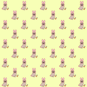 Pug dog in a rabbit costume pattern