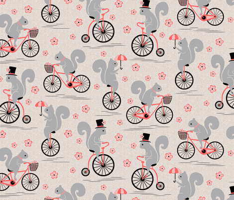 Squirrels on Wheels fabric by sufficiency on Spoonflower - custom fabric