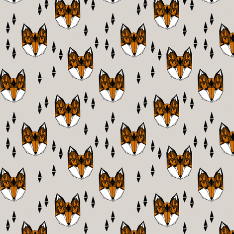 fox (1 inch)// geometric fox head kids nursery baby foxes woodland animal grey boys gender neutral kids design fabric by andrea_lauren on Spoonflower - custom fabric