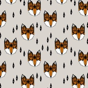 fox (1 inch)// geometric fox head kids nursery baby foxes woodland animal grey boys gender neutral kids design