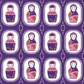 matryoshka Dolls  // purple // little matryoshka collection