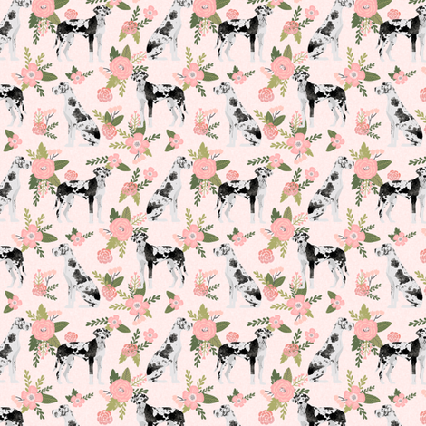 great dane (smaller scale) harlequin coat pet quilt d collection coordinate floral fabric by petfriendly on Spoonflower - custom fabric