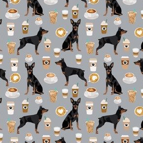 miniature pinscher coffee (smaller scale) fabric cute min pin fabric design - grey