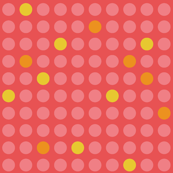 Small dots in pink and yellow