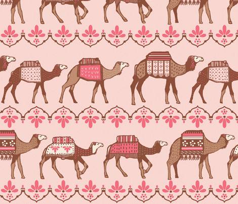 Marrakesh camels in a line pink and brown fabric by lacy_and_jojo on Spoonflower - custom fabric