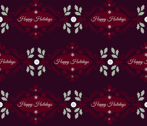 Happy Holidays in Red fabric by katawampus on Spoonflower - custom fabric