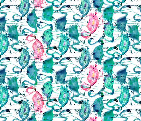 flamingo repeat teal! smaller scale rotated fabric by karismithdesigns on Spoonflower - custom fabric