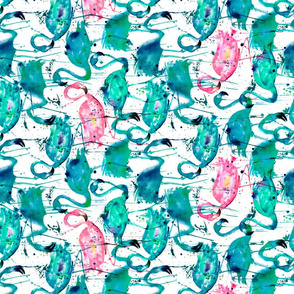 flamingo repeat teal! smaller scale rotated