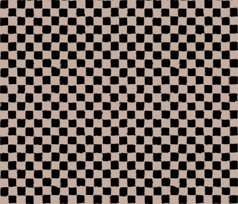 Checker Strokes Black on Nude fabric by form_creative on Spoonflower - custom fabric