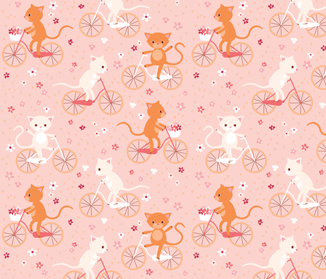 cycling cats fabric by heleenvanbuul on Spoonflower - custom fabric