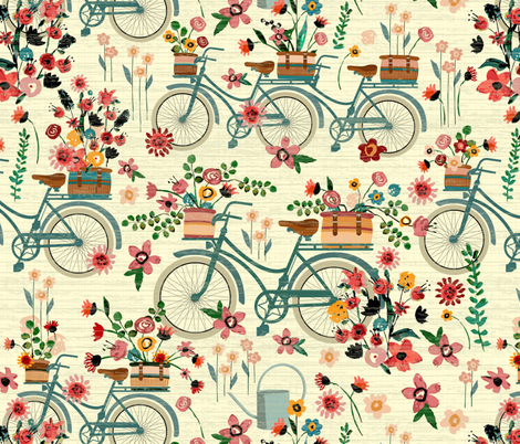 Ride To The Flower Market fabric by sarah_treu on Spoonflower - custom fabric