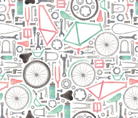 Bike Parts, Cycling Pattern! fabric by elena_o'neill_illustration_ on Spoonflower - custom fabric